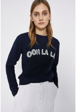Navy Ohh La La Embroidered Sweat