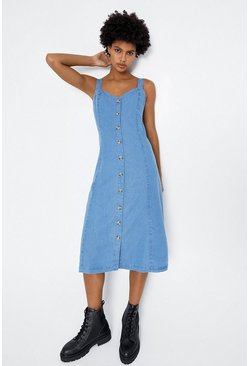 Light wash Strappy Button Front Dress