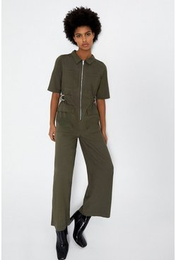 Khaki D-Ring Detail Jumpsuit