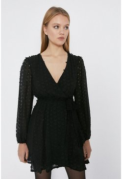 Black Spot Jacquard Ruffle Wrap Dress
