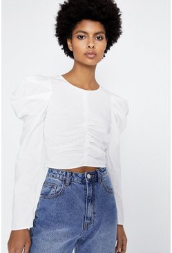 White Puff Sleeve Ruched Detail Top
