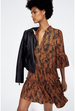 Rust Patched Spot Print Tiered Dress