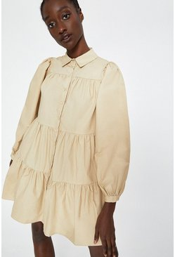Camel Tiered Smock Dress