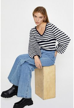 Navy Stripe Boxy Jumper