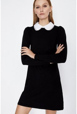 Black Lace Collar Shift Dress