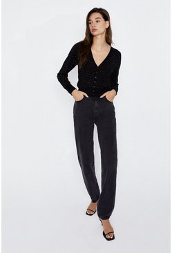 Black Sparkle V Neck Cardigan