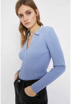 Pale blue Long Sleeve Knitted Rib Collar Top