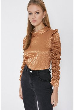 Gold Animal Ruched Sleeve Top