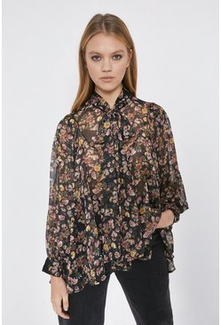 Black Floral Tie Neck Blouse