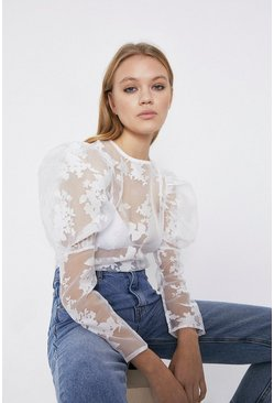 White Floral Organza Puff Sleeve Top
