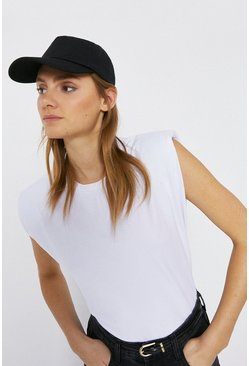 White Shoulder Pad Tee