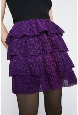 Purple Metallic Tiered Short Skirt