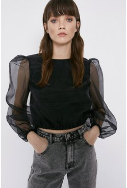Black Balloon Sleeve Organza Top