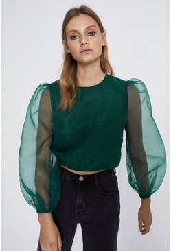 Green Balloon Sleeve Organza Top