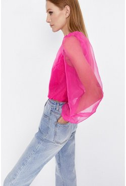 Pink Balloon Sleeve Organza Top