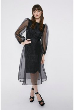 Black Balloon Sleeve Organza Midi Dress
