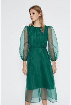 Green Balloon Sleeve Organza Midi Dress