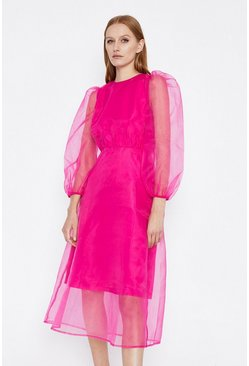 Pink Balloon Sleeve Organza Midi Dress