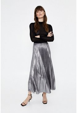 Silver Foil Pleated Midi Skirt