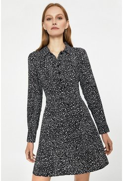 Black Scribble Print Mini Shirt Dress