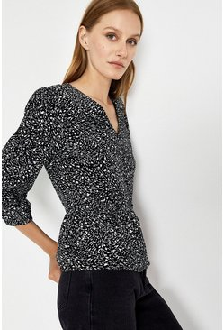 Black Scribble Print Peplum Hem Top