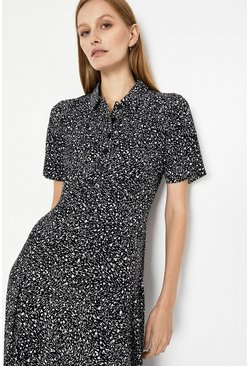 Black Scribble Print Midi Shirt Dress