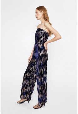 Navy Art Deco Sequin Bandeau Jumpsuit
