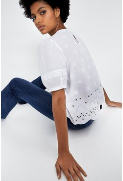 White Broderie Puff Sleeve Top