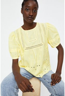 Yellow Broderie Puff Sleeve Top