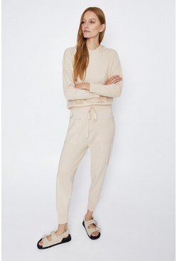 Cream Cuff Hem Pocket Knitted Jogger