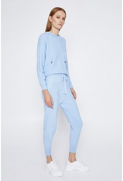 Pale blue Cuff Hem Pocket Knitted Jogger