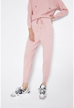 Pale pink Cuff Hem Pocket Knitted Jogger