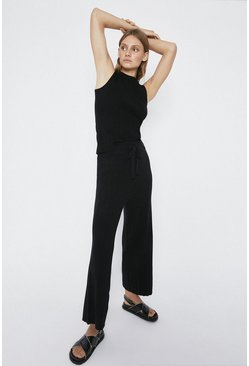 Black Wide Leg Knitted Lounge Trouser