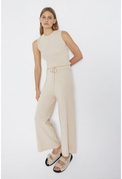 Cream Wide Leg Knitted Lounge Trouser