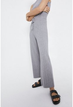 Grey Wide Leg Knitted Lounge Trouser