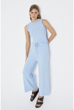 Pale blue Wide Leg Knitted Lounge Trouser