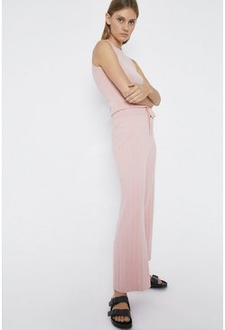 Pale pink Wide Leg Knitted Lounge Trouser