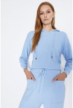 Pale blue Hooded Lounge Jumper