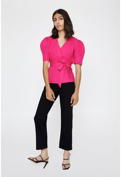 Bright pink Cotton Wrap Puff Sleeve Top