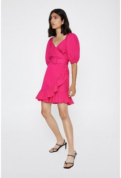 Bright pink Cotton Wrap Puff Sleeve Mini Dress