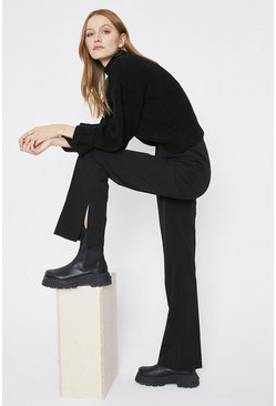 Black Side Split Flare Trousers