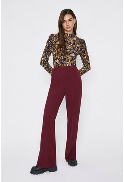 Wine Side Split Flare Trousers