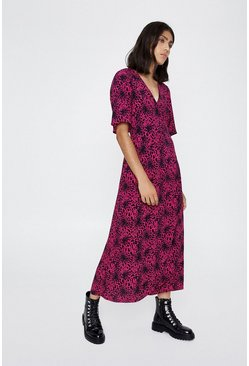 Pink Leopard Wrap Dress