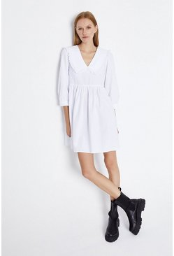 White  Cotton Bib Mini Dress