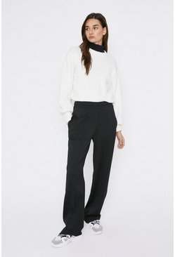 Black Premium Crepe Elasticated Wide Leg Trouser