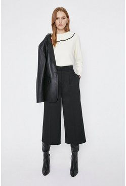 Black Cotton Sateen Cropped Trouser