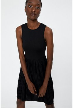 Black Pleated Racerback Short Dress