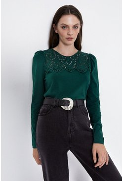 Dark green Broderie Long Sleeve Top