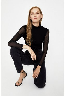 Black Funnel Neck Mesh Sleeve Top