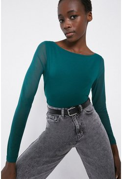 Dark green Slash Neck Contrast Sleeve Top
